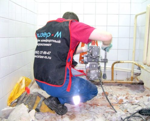 Сверление под канализацию