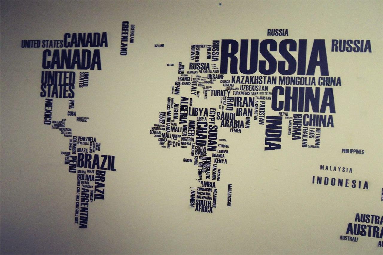 Карта мира из слов
